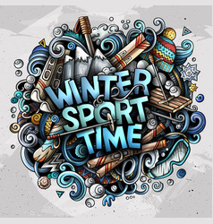 Winter sport time hand drawn cartoon doodles vector