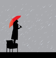 woman under rain vector image