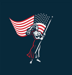woman with a flag vector image
