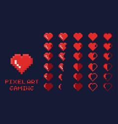 8 bit pixel art gui game design element - heart vector image vector image