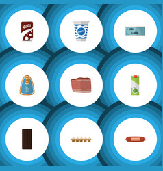 Flat icon food set of yogurt packet beverage vector