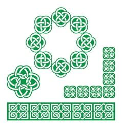 Irish Celtic green design - patterns knots vector image