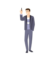 Man In Jacket On Sweater Writing On Whiteboard vector image vector image