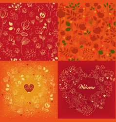 red and orange floral patterns set vector image vector image