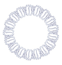 round frame on a white background - silver chain vector image vector image