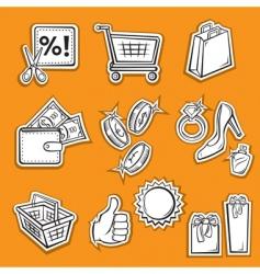 shopping set v vector image vector image