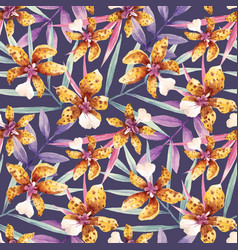watercolor orchid flowers tropical pattern vector image vector image