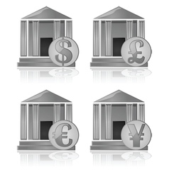 Bank and currency icons vector image vector image
