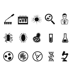 black microbiology icon set vector image vector image