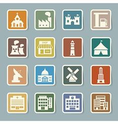 buildings icon set vector image vector image
