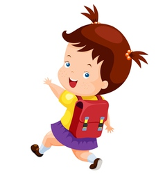 Cute girl back to school vector image vector image