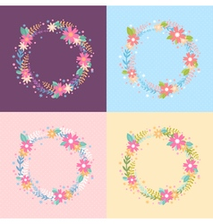 Elegant floral wreath card vector image vector image