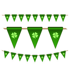 green festive flags with clovers vector image vector image
