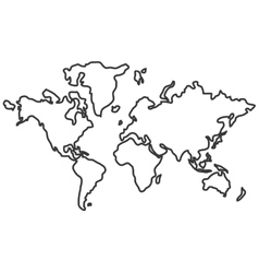world map with distinction between land and sea vector image