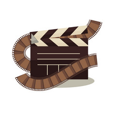 cinema clapperboard with celluloid elements around vector image