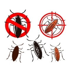 cockroach pest control icons set vector image