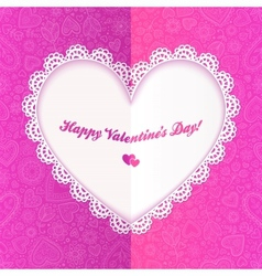 Cutout lacy paper heart on pink ornate background vector image