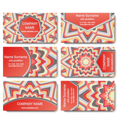 Set of visiting card with mandala vector
