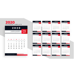 2020 happy new year calendar layout template vector