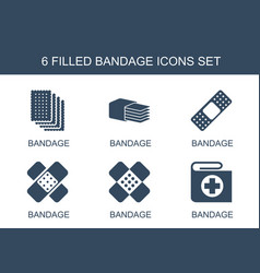 6 bandage icons vector