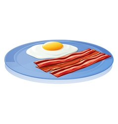 A plate with an egg and a bacon vector