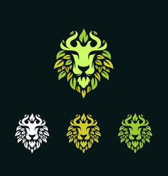 Abstract head lion leaves logo vector