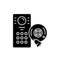 alarm system black icon sign on isolated vector image