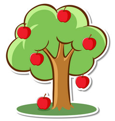 An apple tree sticker on white background vector