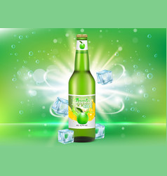 apple cider bottle package realistic mockup vector image