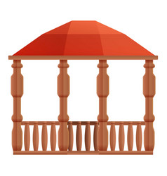Architecture wood gazebo icon cartoon style vector