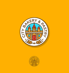 bake pastry logo building and ears vector image