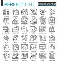 Banking finance thin line web icons set money and vector