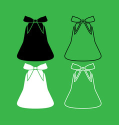 bell with bow ribbon set icon vector image