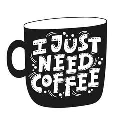 black coffee print mug vector image
