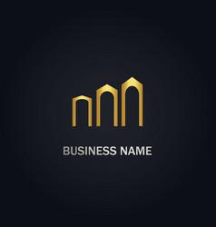 Building abstract gold logo vector