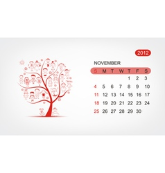 calendar 2012 november Art tree design vector image vector image