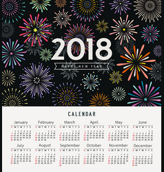 calendar happy new year 2018 colorful fireworks vector image vector image
