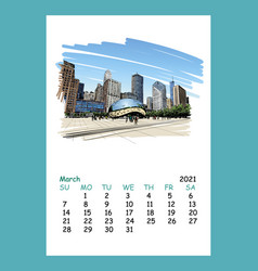 Calendar sheet chicago march month 2021 year vector