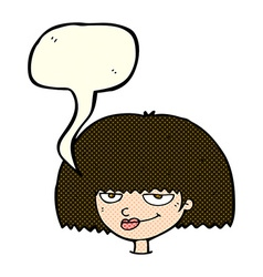 cartoon mean female face with speech bubble vector image