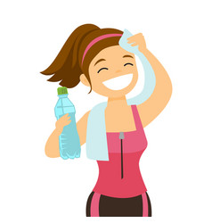 Caucasian sportswoman wiping sweat with a towel vector
