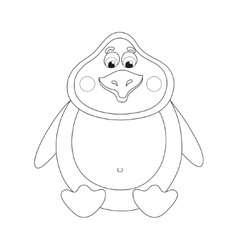 Cheerful cute penguin sits fat birdie has a rest vector
