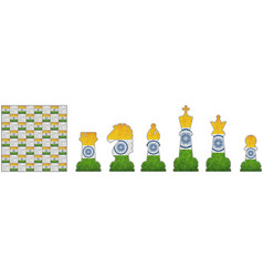 Chess pieces with india flag vector