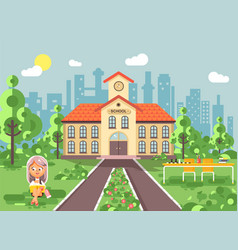 child character schoolgirl vector image