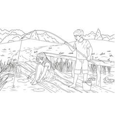 Children catch fish vector
