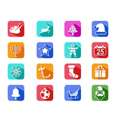 Christmas mobile long shadow icons set vector image
