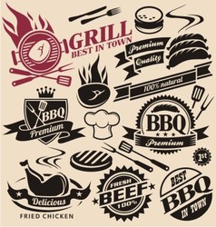 collection grill signs symbols labels vector image