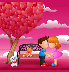 concept of valentine day two enamored under a lov vector image