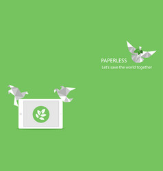 Concept of white paper bird fly paperless go green vector