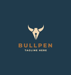creative professional trendy bull horn with pen vector image