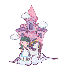 Cute little fairy with unicorn and castle vector
